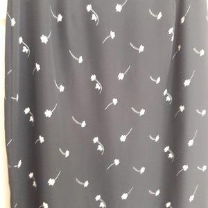Dresses & Skirts - Long Black Skirt with Small White Flower Details